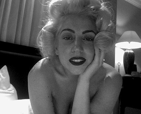 "Lady Gaga dressed up as Marilyn to celebrate the actress's birthday in 2011 and shared this photo via Twitter, saying, ""Happy birthday, Marilyn. They'll never take our blonde hair and lipstick."" Source: Twitter user ladygaga"