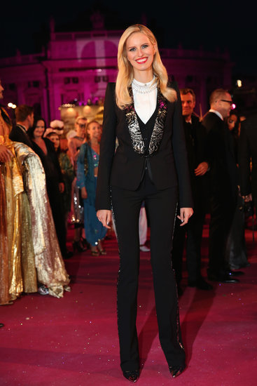 Karolina Kurkova was also showing some serious style overseas. The leggy stunner chose a tuxedo-inspired look for Vienna's Life Ball.