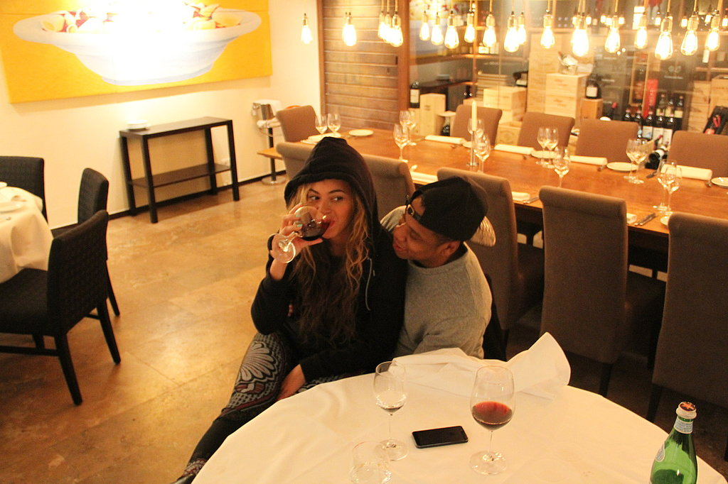 She sipped wine while sitting on Jay Z's lap during a trip to Berlin in May 2013. Source: Tumblr user Beyoncé