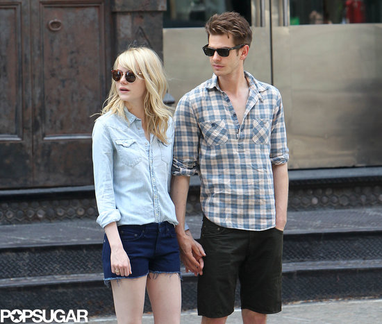 Emma Stone and Andrew Garfield held hands in their downtime.