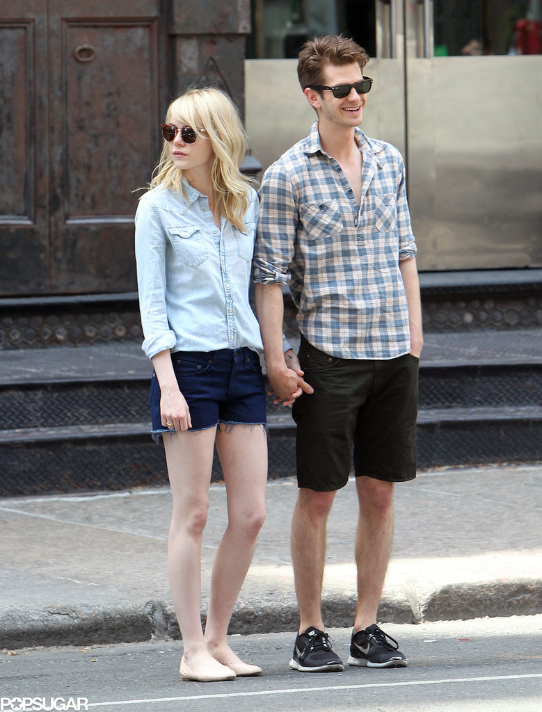Emma Stone and Andrew Garfield engaged in some sweet PDA in New York.