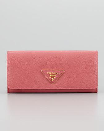 Prada Saffiano Triangle Continental Flap Wallet, Pink