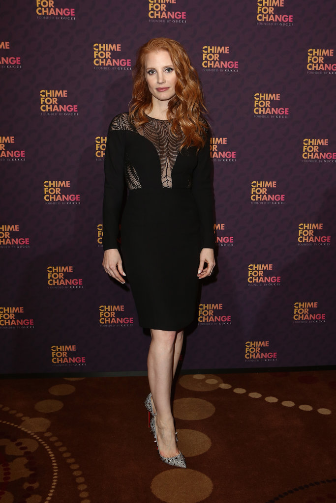 Jessica Chastain was classy with a subversive twist in a black Gucci dress with a netted bodice and spiked pumps.