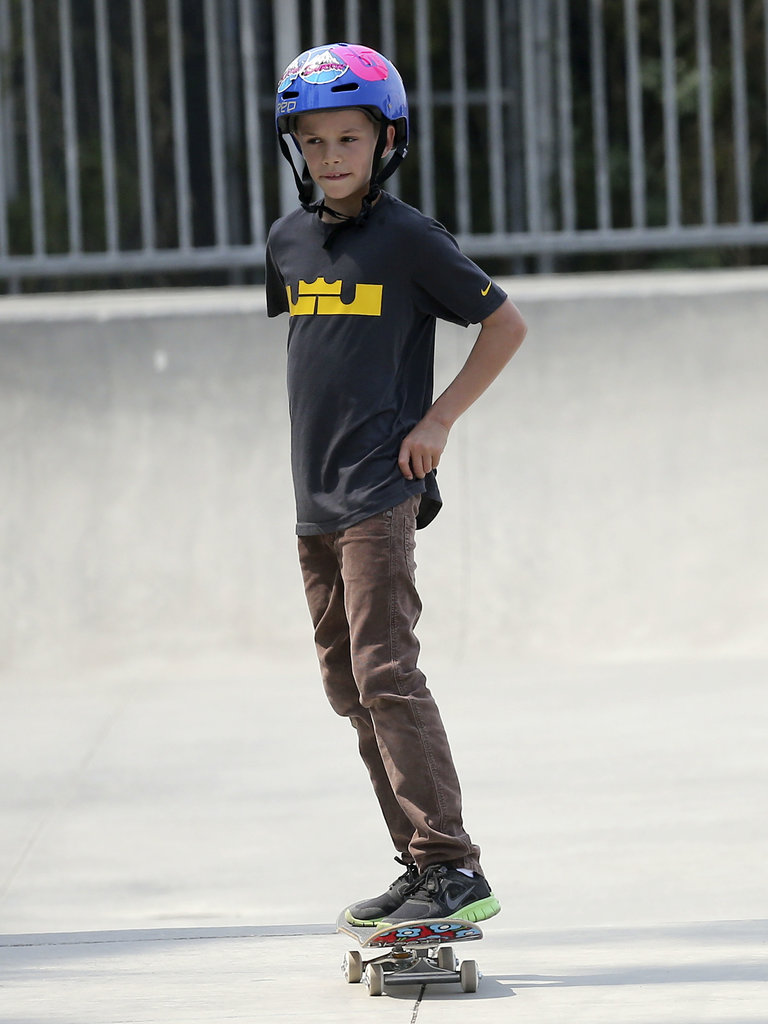 The Beckham Boys Hit the Skate Park Before Catching a Flight With Victoria and Harper