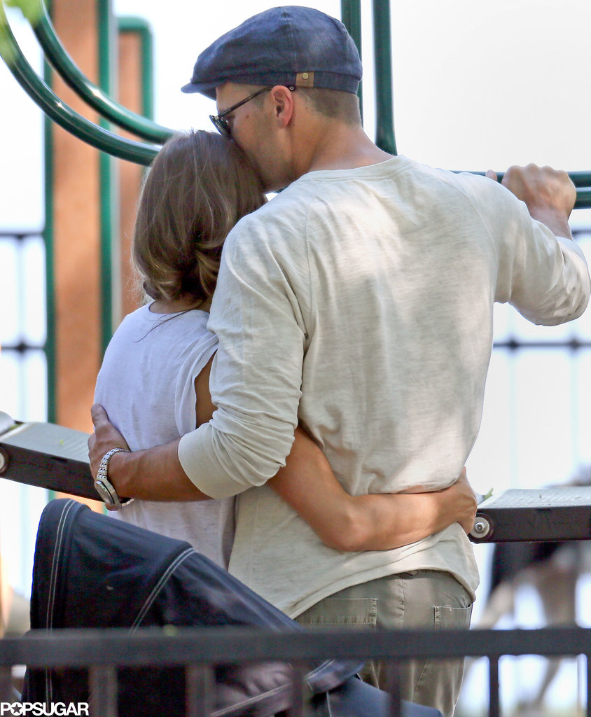 Gisele Bündchen gave her husband, Tom Brady, a tight hug in June at a Boston park.