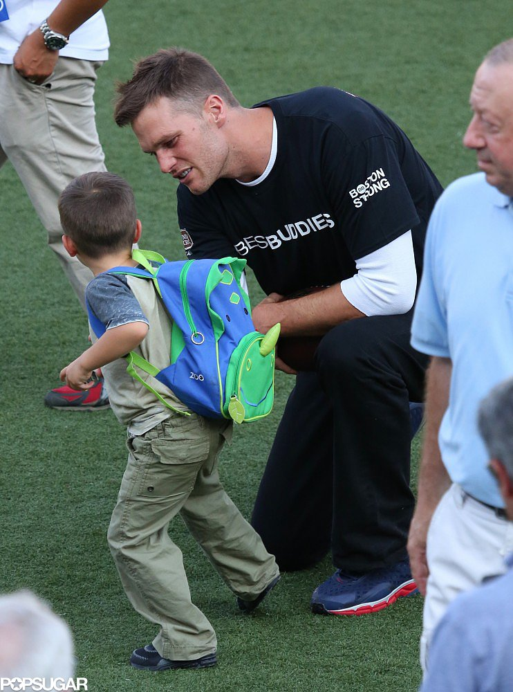 Benjamin Brady joined his dad on the field for Tom Brady's annual Best Buddies football event in Hyannis Port, MA.