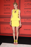Jessica Stam popped majorly in her yellow Rebecca Minkoff peplum dress. Her add-ons, including Christian Louboutin sandals, a Charlotte Olympia clutch, and Fenton/Fallon jewelry, were fun, too.