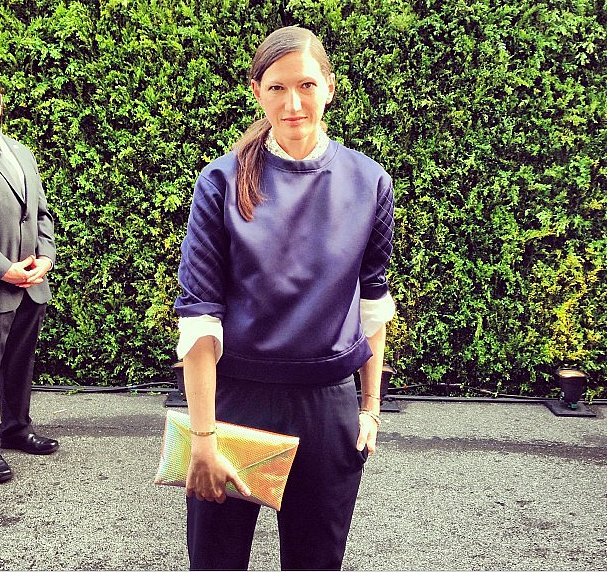 Jenna Lyons can make even a quilted sweatshirt black-tie appropriate.  Source: Instagram user CFDA