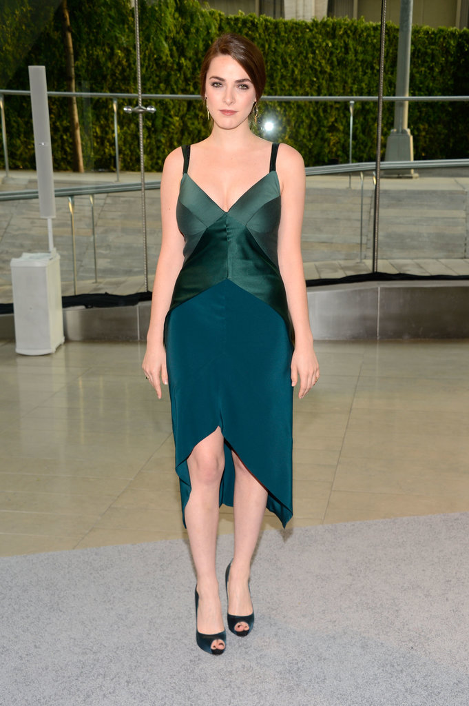 Bee Shaffer took the high-low approach in her green and teal dress.