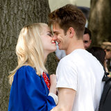 Emma Stone and Andrew Garfield Kiss on Spider-Man 2 Set