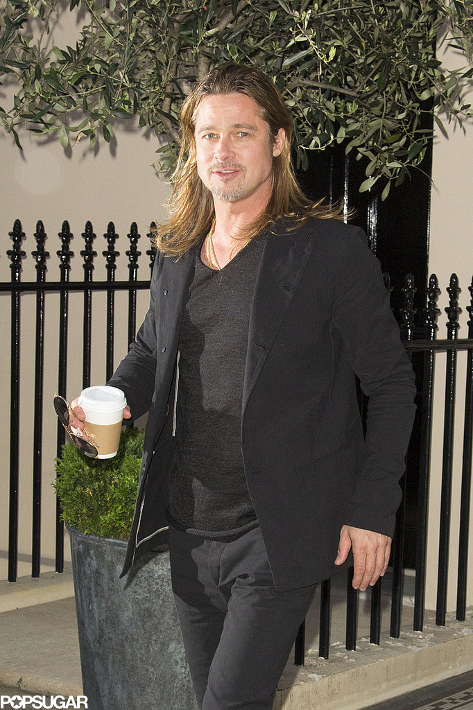 Brad Pitt grabbed a cup of coffee.