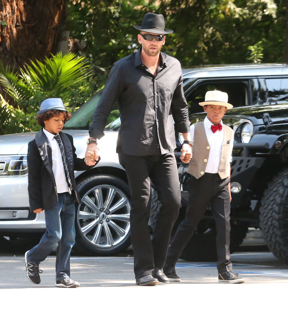 Martin Kristen matched with his girlfriend Heidi Klum's sons, Henry and Johan, for her birthday celebrations in LA.