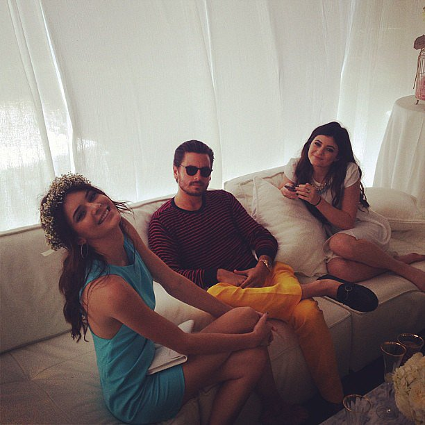 Kendall Jenner and Kylie Jenner hung out with Scott Disick inside the tent at Kim Kardashian's baby shower. Source: Instagram user KhloeKardashian