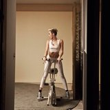 Miley Cyrus played around on an exercise bike. Source: Instagram user mileycyrus