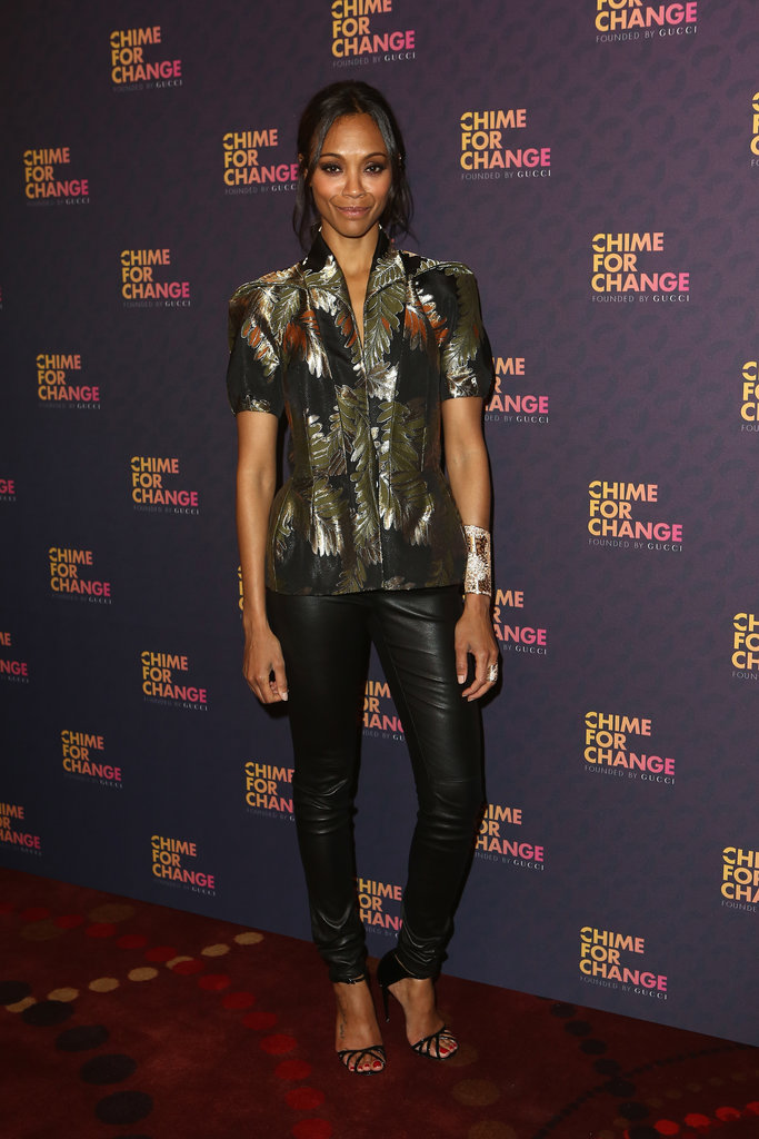 Zoe Saldana, in Gucci Fall 2013, at the Chime For Change: The Sound of Change Live concert, presented by Gucci, in London.