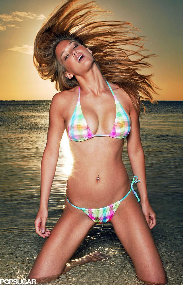 Bar Refaeli wore a colorful plaid bikini for a 2006 photo shoot in Milan.