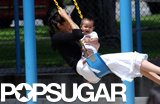 Angelina Jolie and Maddox spent a sweet day swinging at a park in Santa Monica, CA, in July 2002.