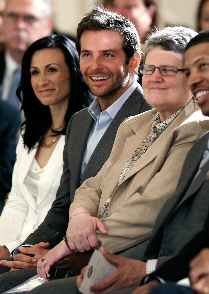 Bradley Cooper smiled during his visit to the White House.