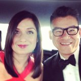 Peter Som and Roopa Patel snapped a selfie in their car on their way to the awards show.  Source: Instagram user Peter_Som