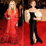 Twinning combo: At the 2011 Met Gala, the pint-size trendsetters opted for gowns with Spanish influence.  Mary-Kate revved up the red carpet in a red-and-green vintage Givenchy Couture selection with a coordinating Judith Leiber clutch.  Ashley stunned in a dramatically sleeved vintage Christian Dior number, complete with thigh-high slit.