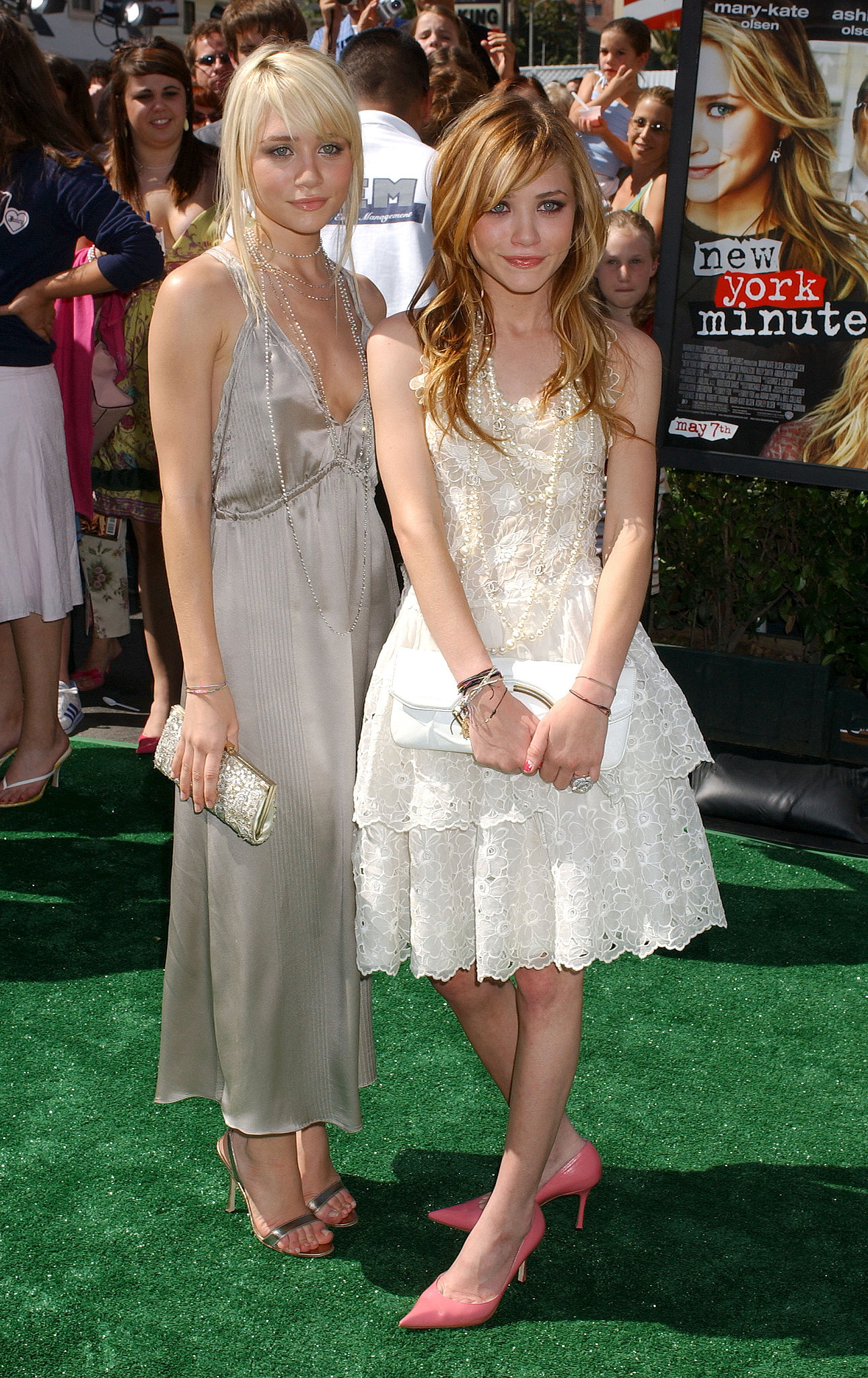 Twinning combo: For the Hollywood premiere of New York Minute, Mary-Kate and Ashley channeled the roaring 20s in ladylike looks accessorized with strands of pearls.  Ashley chose a gray pleated halter with metallic sandals and a glistening clutch. Mary-Kate paired a tiered lace dress with pink pointed pumps and a white leather clutch.