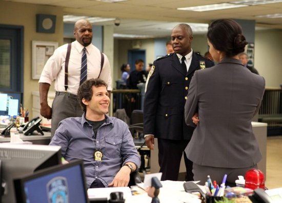 Terry Crews, Andy Samberg, and Andre Braugher in Brooklyn Nine-Nine.