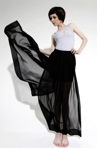 Short Black Chiffon Dress with Sheer Overlay 2013