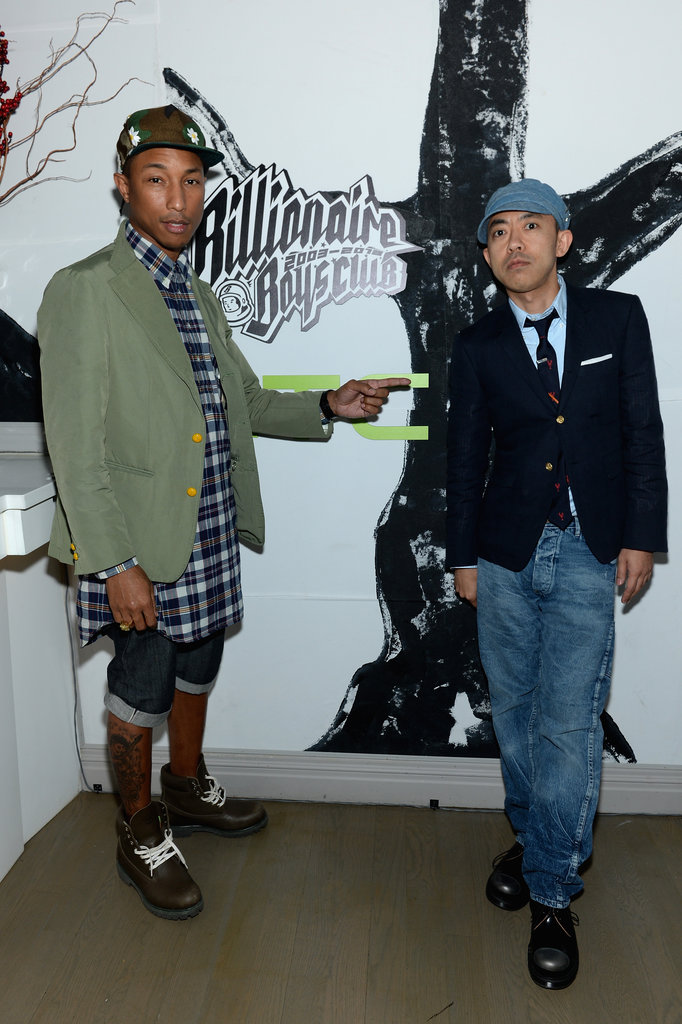 Pharrell Williams and Nigo stopped for a picture before heading into their clothing line's 10th anniversary celebration.