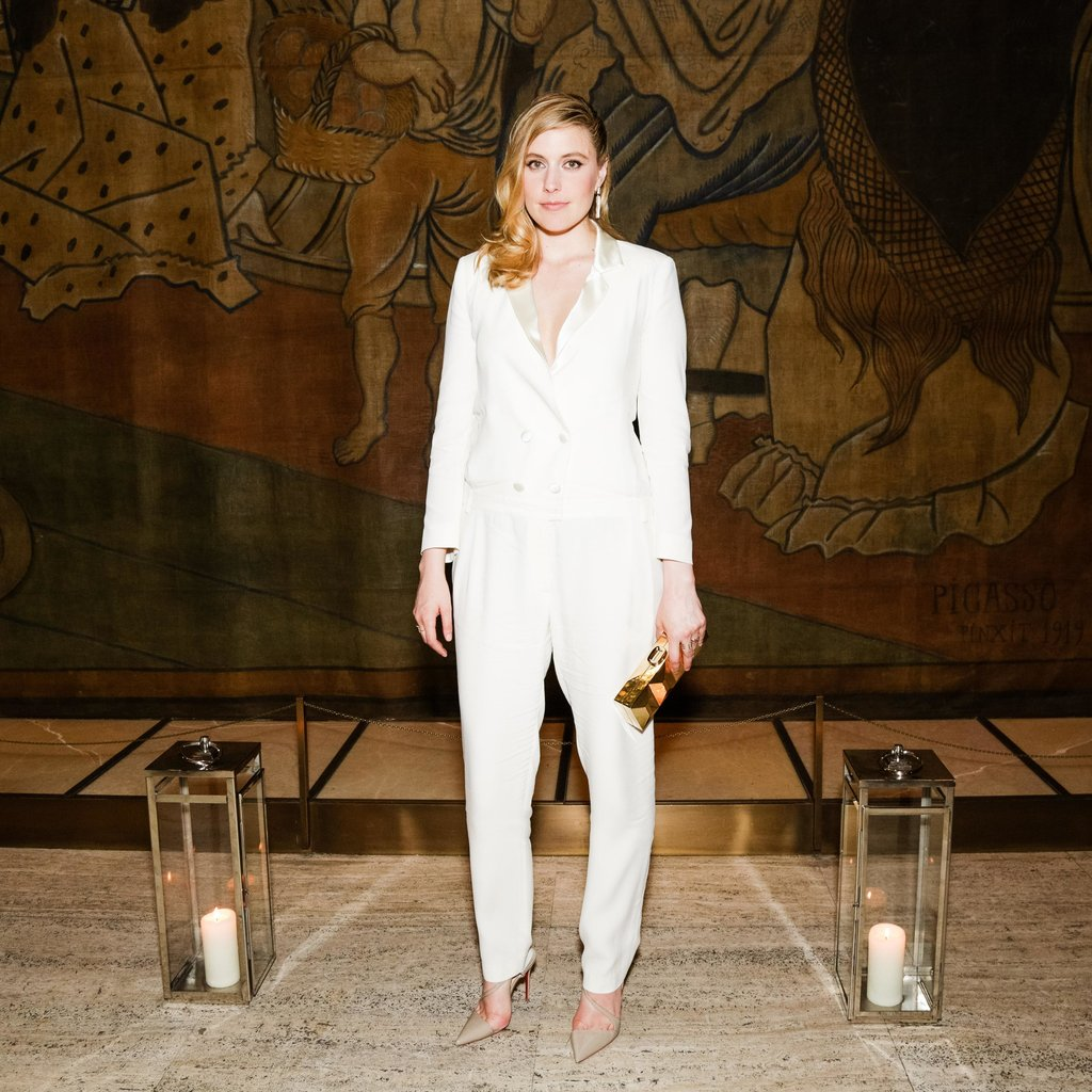 Greta Gerwig wore an all-white ensemble to celebrate Vera Wang at a CFDA afterparty. Source: Benjamin Lozovsky/BFAnyc.com