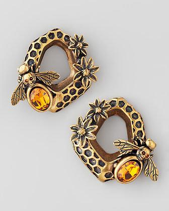 Alexander McQueen Honeycomb & Bee Earrings