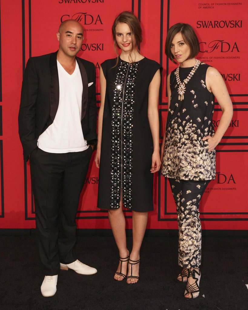 Tilda Lindstam with Suno designers Max Osterweis and Erin Beatty. Source: Matteo Prandoni/BFAnyc.com