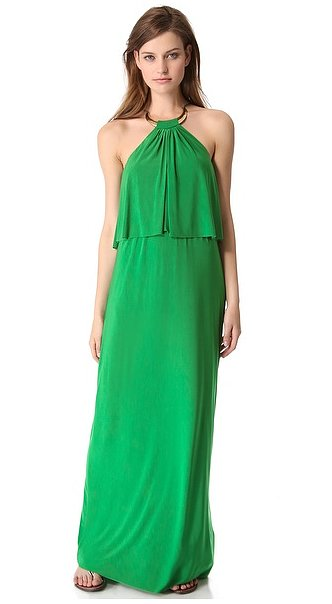 We're sold on the bold color, gold collar, and tiered overlay on this T-Bags halter maxi dress ($194).