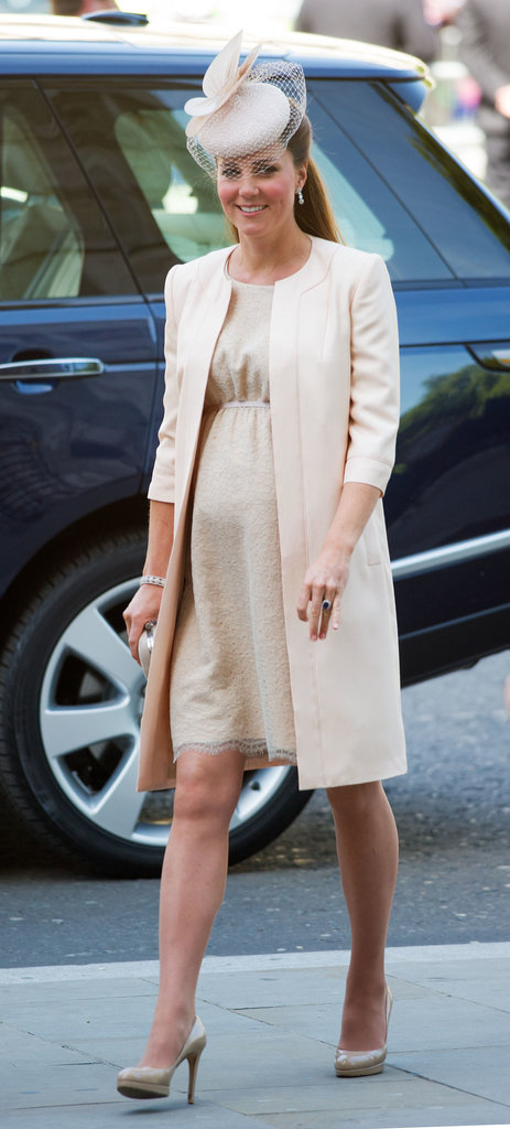 While pregnant, Kate attended a service celebration for the queen's 60th coronation anniversary in London in a monochromatic ensemble: a nude Jenny Packham dress with matching coat and L.K.Bennett heels.