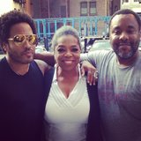 Oprah enjoyed the rough cut of her upcoming film The Butler with costar Lenny Kravitz and director Lee Daniels. Source: Instagram user oprah