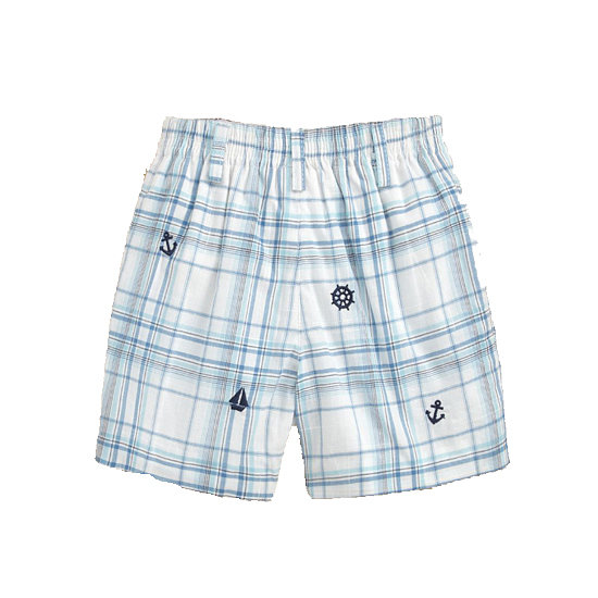 Help him master the plaid in these casual embroidered shorts ($37).