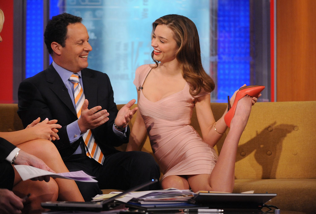 Miranda Kerr showed off her flexability during a visit to the set of Fox & Friends in NYC.