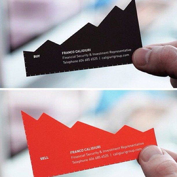 Playing on your profession — like this stockbroker business card does — is cheeky but definitely memorable.  Source: Instagram user lianne347