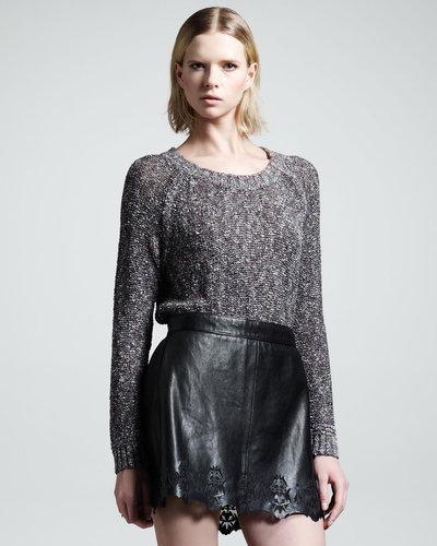 Rag & Bone Paris Laser-Cut Leather Skirt