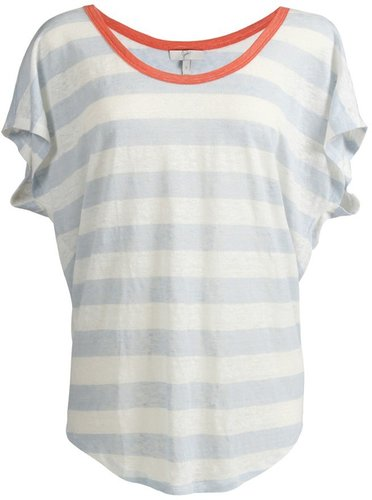 Maddie Short Sleeve Striped Tee in Cloud Blue