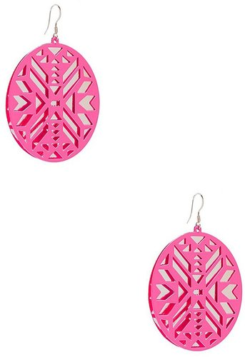 Neon Pink Laser-Cut Disc Earrings