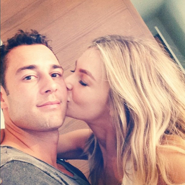 Jennifer planted a kiss on Jake in April 2013. Source: Instagram user jenhawkins_