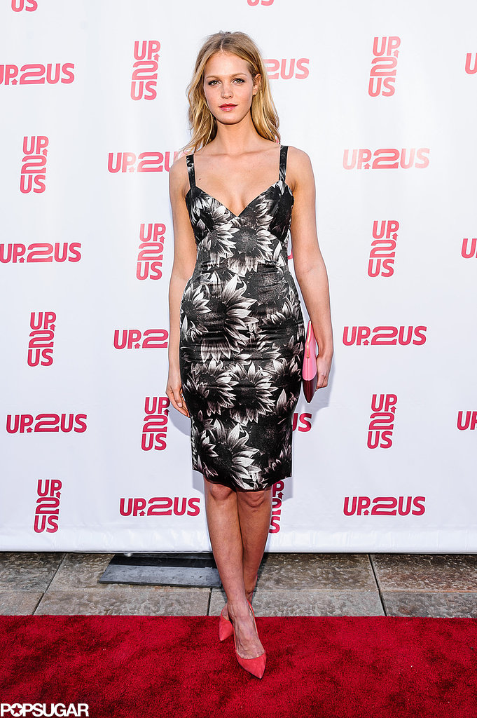 Erin Heatherton donned a patterned dress for the event.