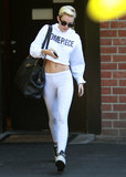 Miley Cyrus Shows Off Her Stomach on a Studio Stop