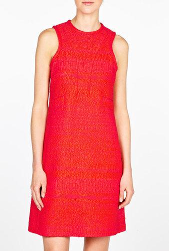 Carven Tweed Raffia Sleeveless Shift Dress