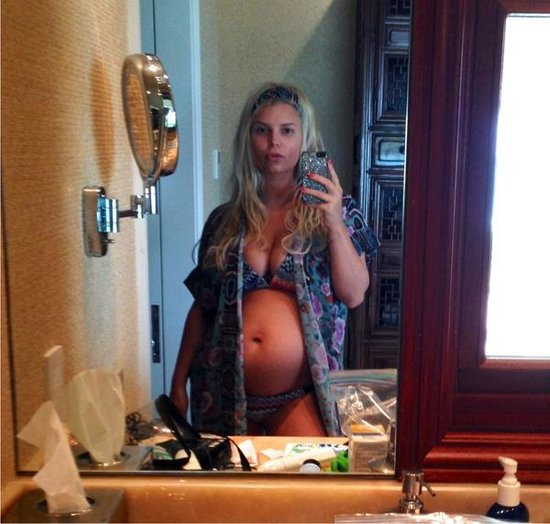 Jessica Simpson revealed her baby bump while in Hawaii in December 2012.  Source: Twitter user JessicaSimpson