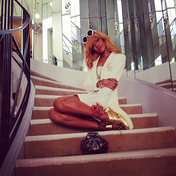 Rihanna posed on the infamous staircase at Coco Chanel's home in Paris.