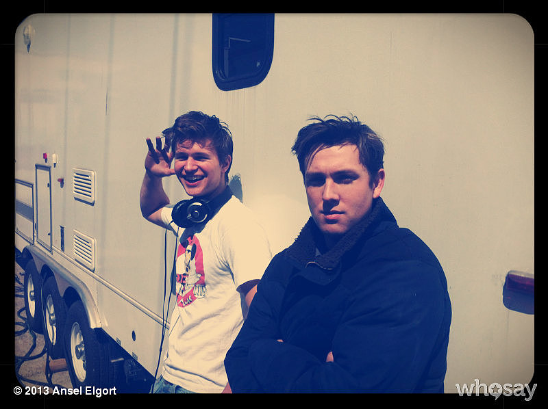 Ansel Elgort and Christian Madsen goofed around between takes. Source: Ansel Elgort on WhoSay