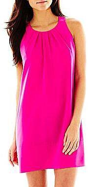Pleat-Neck Sheath Dress