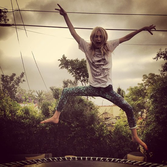 Poppy Delevingne got some serious air while jumping on a trampoline. Source: Instagram user poppydelevingne