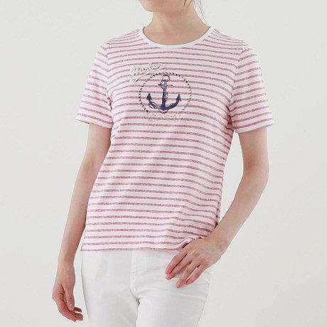 ボーダーアンカーTシャツ【UV】